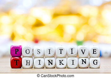 Wood dice with Words Positive Thinking motivational slogan...