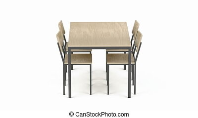 Wood dining table and chairs on white background