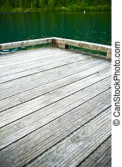 Wood Dock on the Lake - Vertical Photography. Wood Dock...