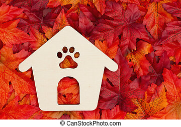 Wood dog house for the fall season
