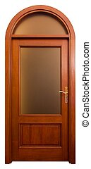 Wood Door 2 - Isolated Home Door with matt glass