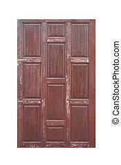 wood door on white background