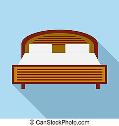 Wood double bed icon in flat style