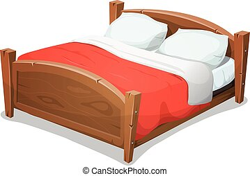 Wood Double Bed With Red Blanket - Illustration of a cartoon...