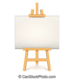 Wood easel with white canvas isolated vector illustration