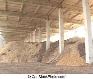 wood ecologic bio fuel - pile of shaving sawdust chips and...