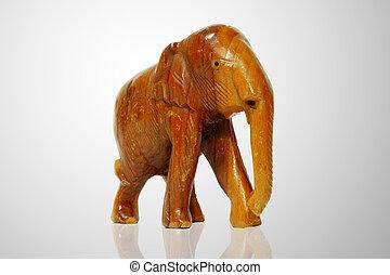 wood elephant isolated
