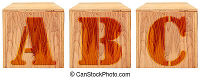 Wood Engraved Alphabet Blocks A B C