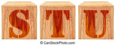 Wood Engraved Alphabet Blocks S T U