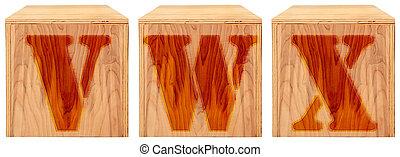 Wood Engraved Alphabet Blocks V W X