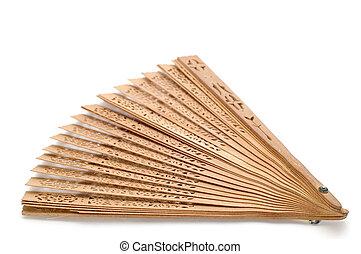 Wood fan - object on white - Wooden fan