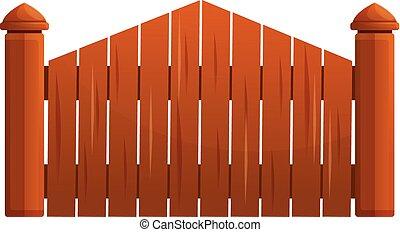 Wood fence gate icon, cartoon style