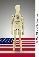 Wood figure mannequin with US state flag bodypaint - New Jersey