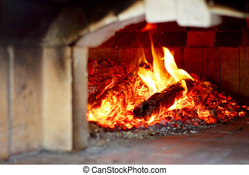 Wood fire oven for making pizza.