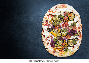 Wood fire traditional pizza, border background
