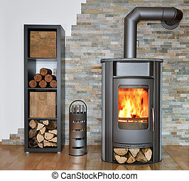 wood fired stove with fire-wood, fire-irons, and briquettes...
