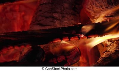 wood firewood burns close up.