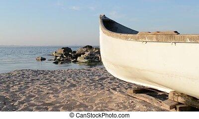 Wood Fishing Boat at Shore