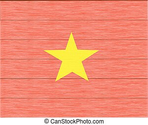 wood flag of vietnam