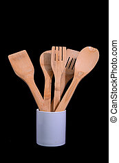 Wood Flatware Kitchen Tool over a Black Background