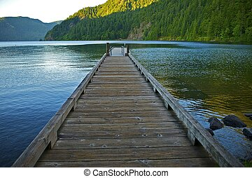 Wood Floating Dock Over Crescent Lake in the Olympic National Park, Washington USA. Washington State Photo Collection.