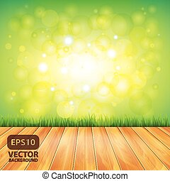 Wood floor and green grass, vector background