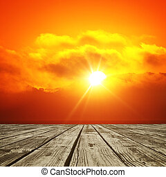 shining sun - wood floor and shining sun background