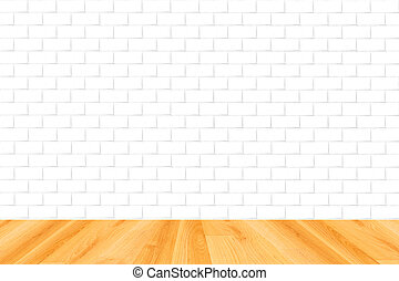 wood floor and white brick wall background