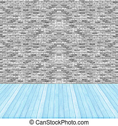 Wood floor blue pastel colour perspective on brick wall gray colour