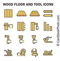 Wood floor icon - Wood floor and tool vector icon sets...