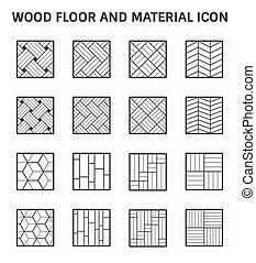 Wood floor icon - Wood floor pattern or wood material vector...