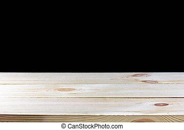 Wood floor isolated on black