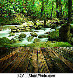mountain waterfall - Wood floor perspective and natural ...