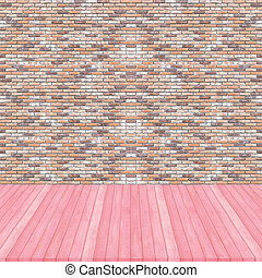 Wood floor pink pastel colour perspective on brick wall brown colour