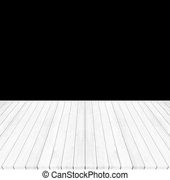 Wood floor white - gray perspective on black background