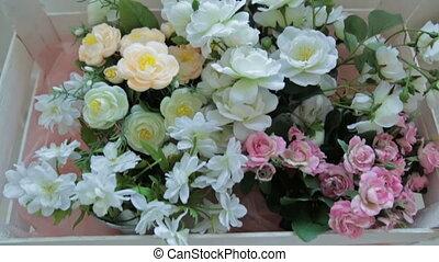 Wood flower box, decor  in photographic studio