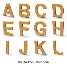 wood font isolated on white background.