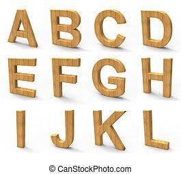 wood font isolated on white background.