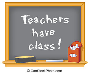 Teachers have class! - Wood frame blackboard with important...