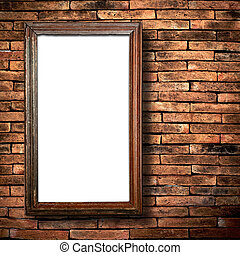 wood frame brick wall