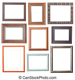 wood frame Collection on white background