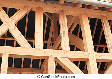 wood frame of a house under construction