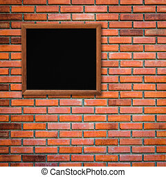 wood frame on brick wall background