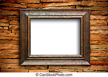 wood frame on brick wall