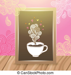 Wood frame on the desk with coffee illustration