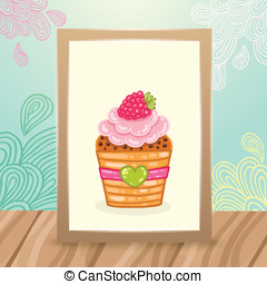Wood frame on the desk with doodles and cupcake