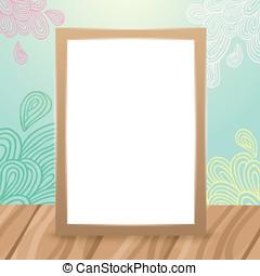 Wood frame on the desk with doodles