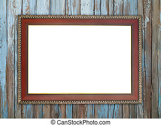 wood frame on wood wall - blank wood frame on wood wall...