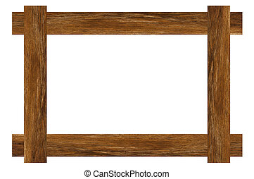 Wood Frame - Very large old wood frame on clean white...