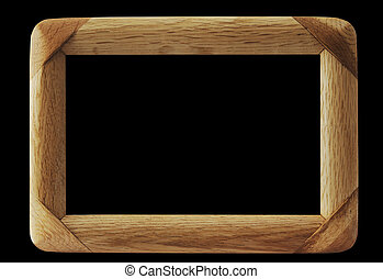Wood frame - Simple wooden frame isolated on black...